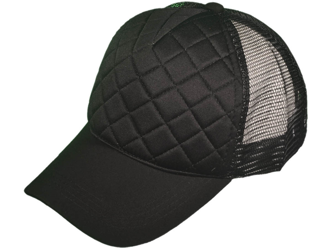 edf8810d Quilted Black Trucker Hat - Living On A Prayer Boutique