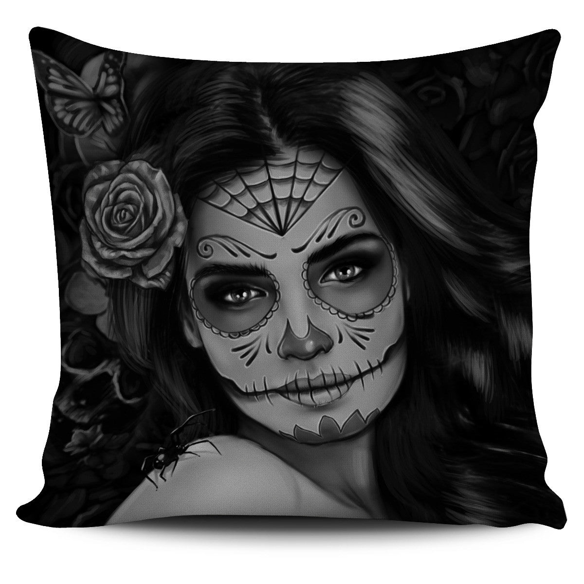 Black/White Calavena Girl Pillow Cover
