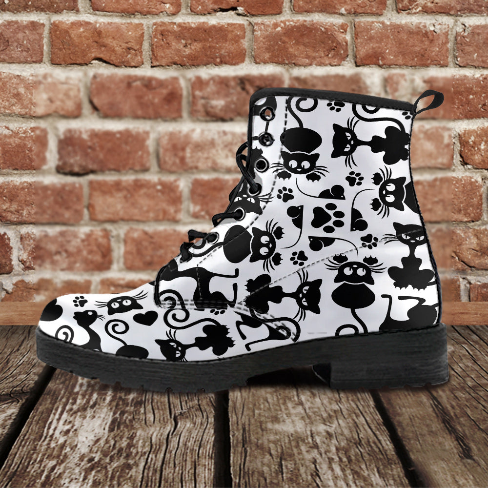 Cats White Leather Boots