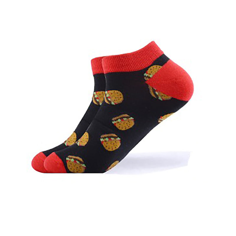 Cool Socks Dude - Sport & Dress Socks - Black & Red Burgers Ankle Socks - Action Pro Sports