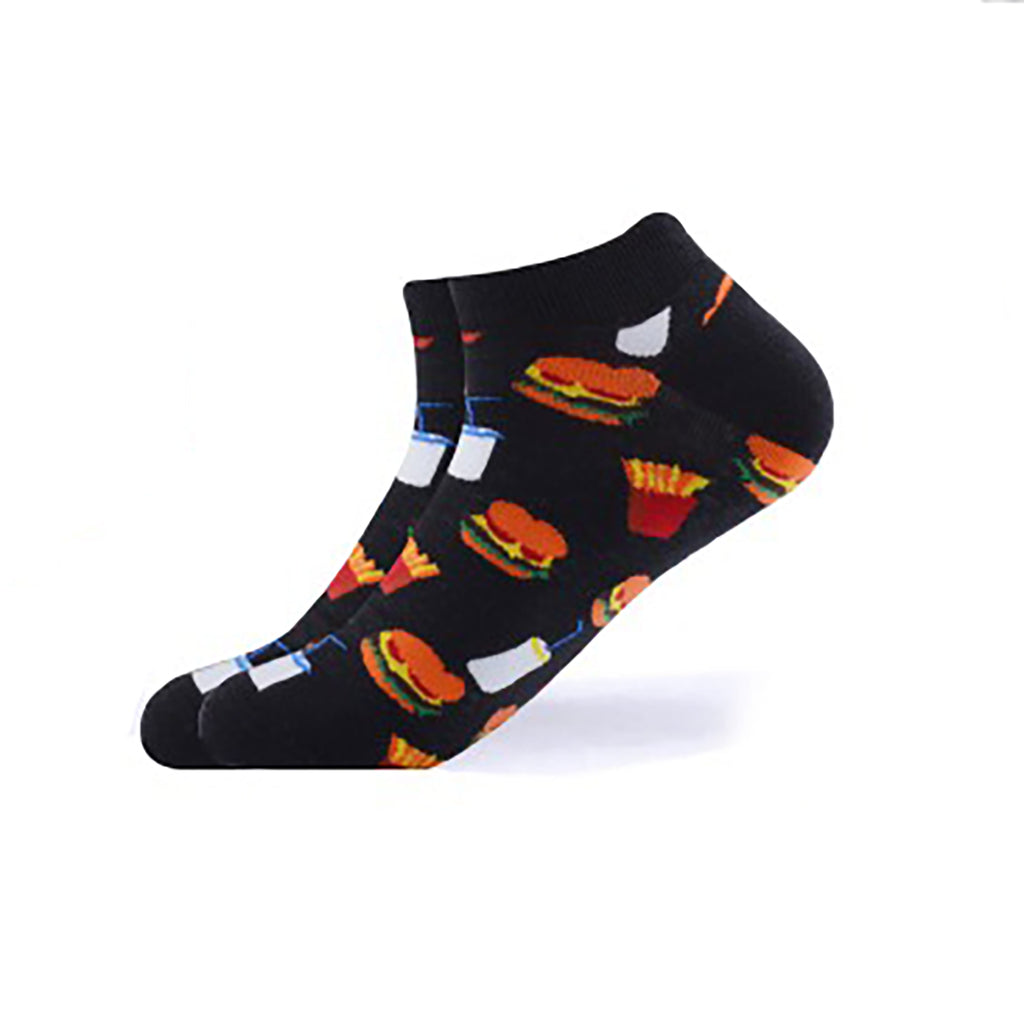 Cool Socks Dude - Sport & Dress Socks - Black Burger Shop Ankle Socks - Action Pro Sports