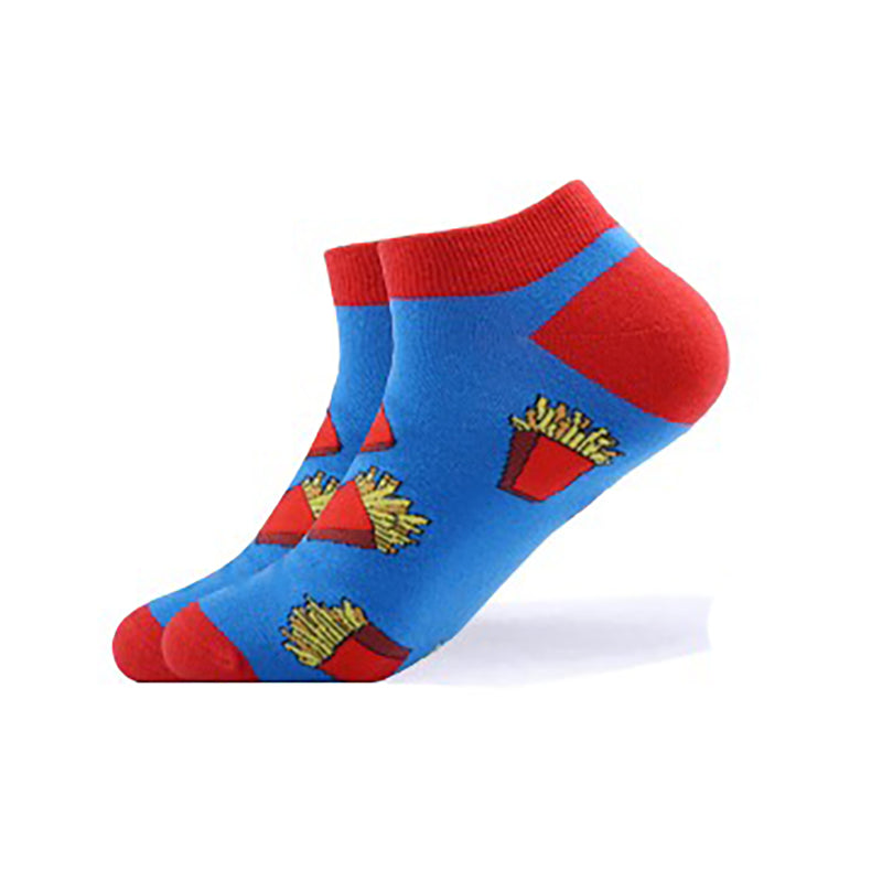Cool Socks Dude - Sport & Dress Socks - Blue & Red Fries Ankle Socks - Action Pro Sports
