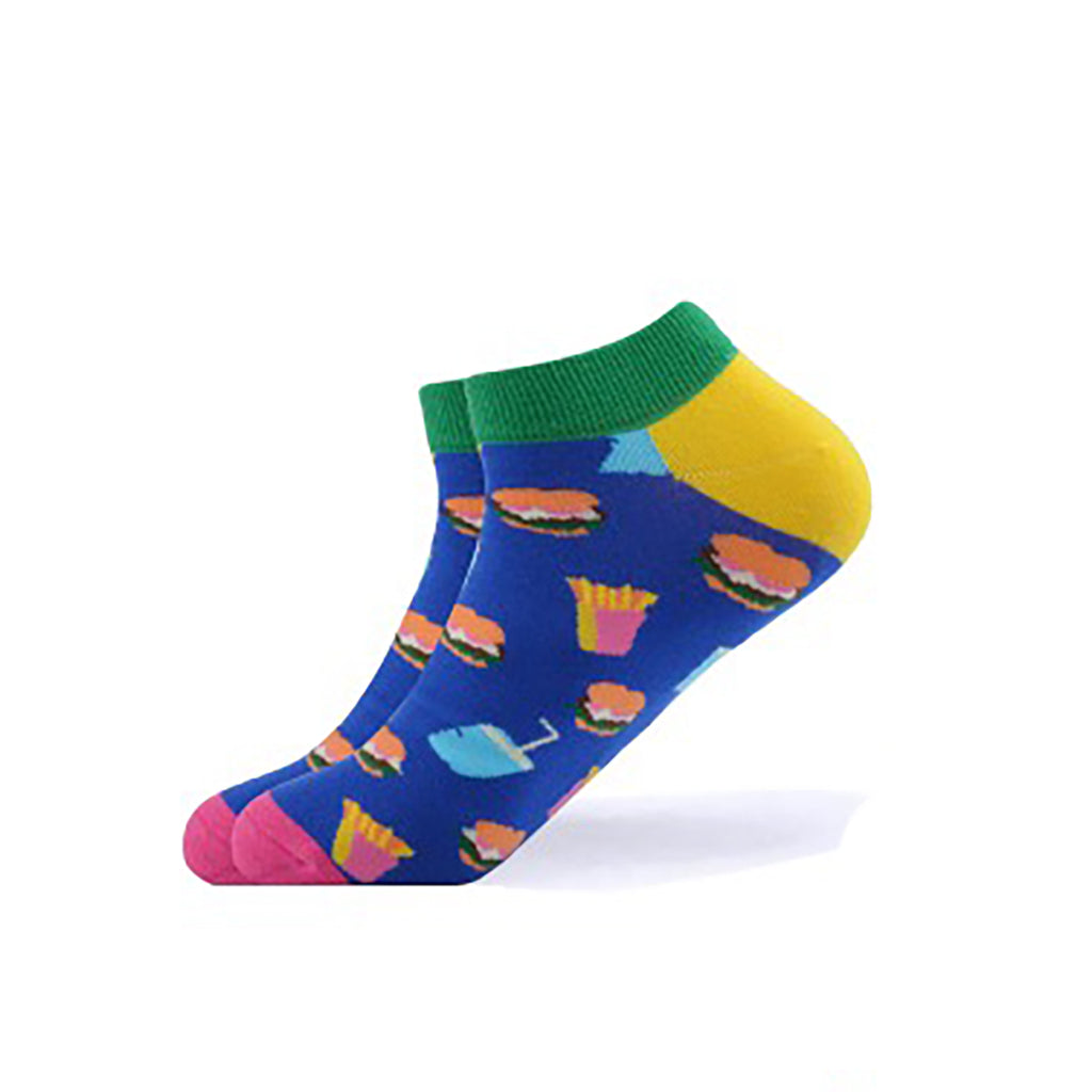 Cool Socks Dude - Sport & Dress Socks - Blue Burger Shop Ankle Socks - Action Pro Sports