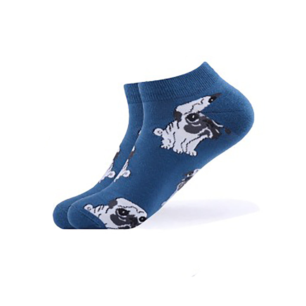 Cool Socks Dude - Sport & Dress Socks - Blue Pug Puppy Ankle Socks - Action Pro Sports