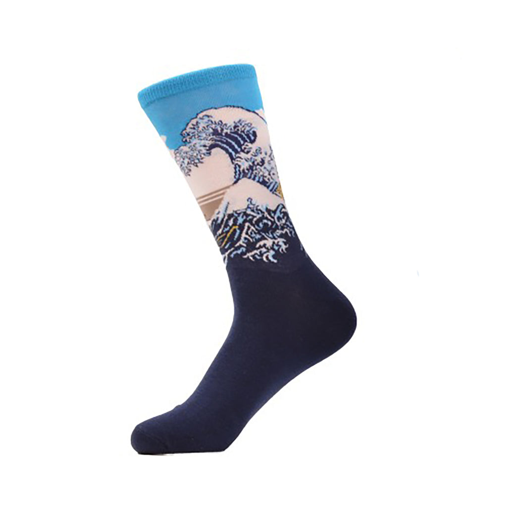 Cool Socks Dude - Sport & Dress Socks - Blue Tidal Wave Crew Socks - Action Pro Sports