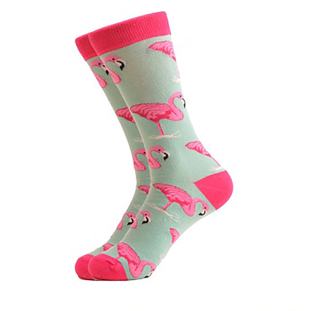 Cool Socks Dude - Sport & Dress Socks - Baby Blue Flamingo Crew Socks - Action Pro Sports