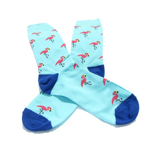 Cool Socks Dude - Sport & Dress Socks - Flamingo Party Crew Socks - Action Pro Sports