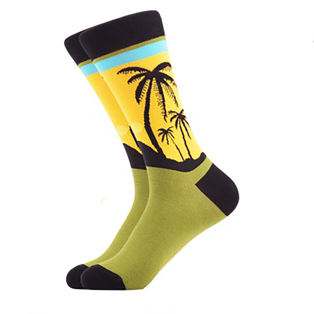 Yellow Island Palm Tree Crew Socks - Action Pro Sports