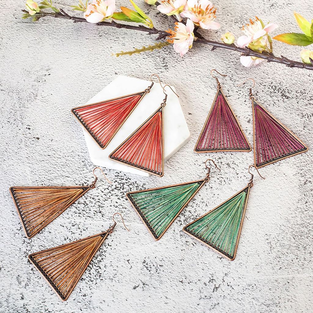 Geometric Triangle Dangle Earrings - Action Pro Sports