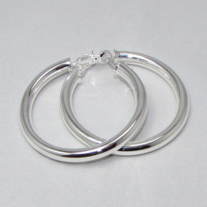 Large Silver Hoop Earrings - Action Pro Sports