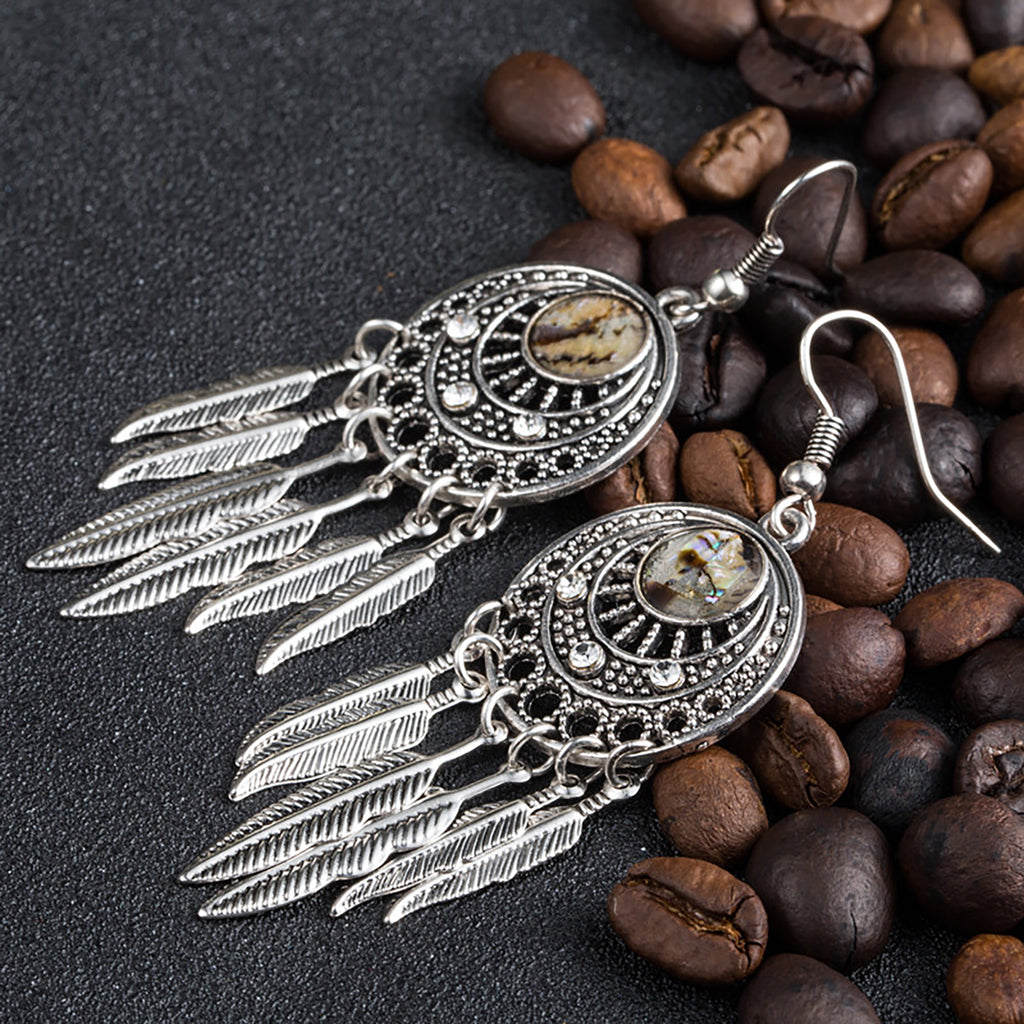 Dream Catcher W/ Feathers Dangle Earrings - Action Pro Sports