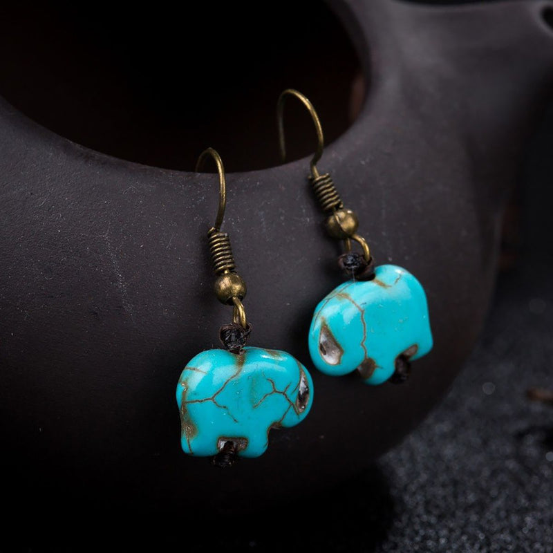Turquoise Elephant Earrings - Action Pro Sports