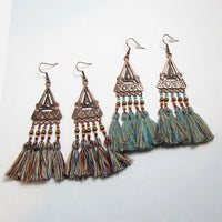 Flower Mill Jewelry - Earrings and Clasps - Antique Triangle Tassel Earrings - Action Pro Sports