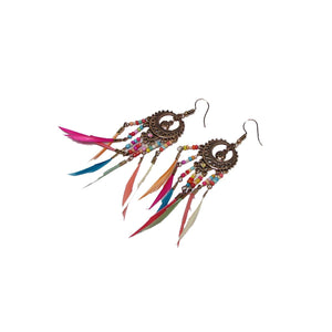 Long Feather Dangle Earrings - Action Pro Sports