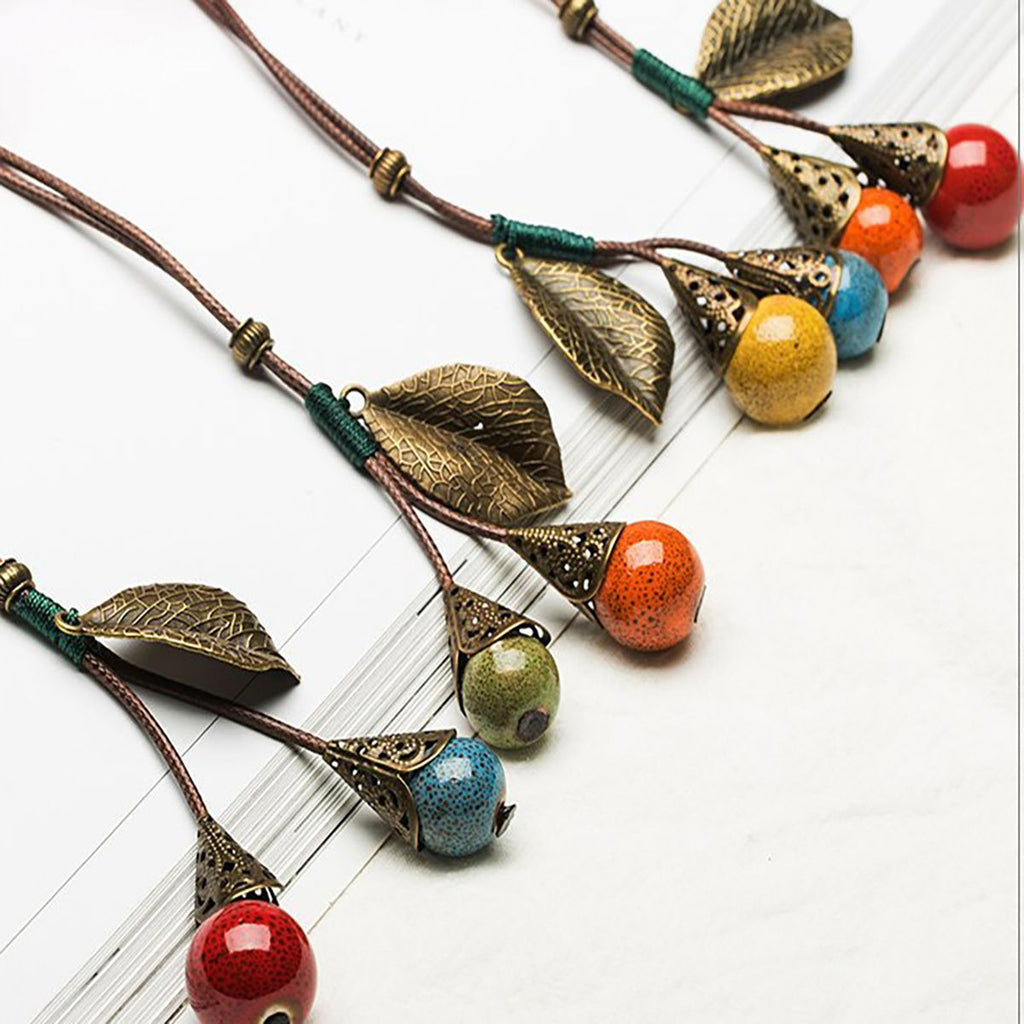Leather With Berry Pendant Necklaces