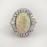 White Fire Opal Encircled With Diamonds Rings - Action Pro Sports