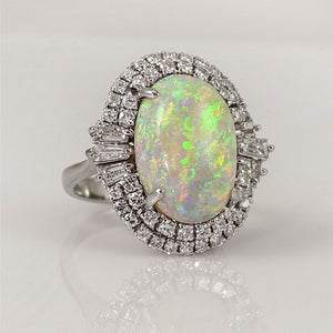 White Fire Opal Encircled With Diamonds Rings