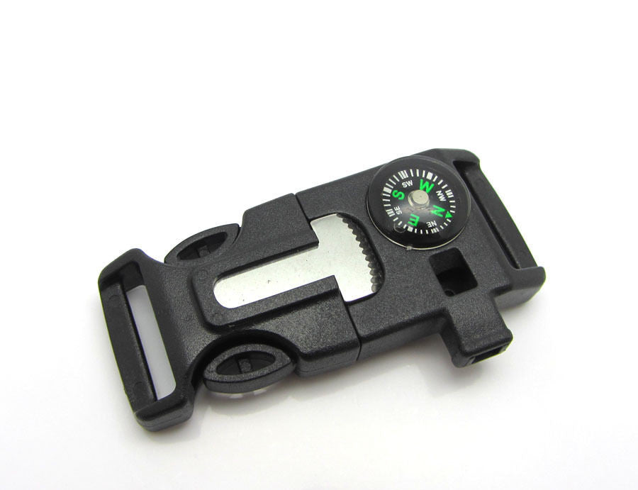 Survival Buckle With Whistle, Compass, & Flint