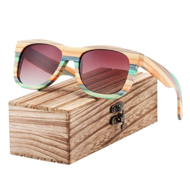 Gradient Bamboo Polarized Sunglasses
