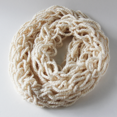Cream with Gold Accents Infinity Scarf
