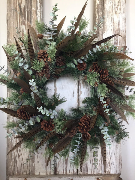 Winter Feather and Pine Cone Evergreen Wreath, Holiday Wreath for Front Door Wreath - Ash & Hart Floral