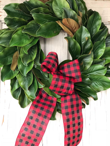 Buffalo Plaid Magnolia Wreath, Buffalo Plaid Christmas, Farmhouse Chtistmas Wreath - Ash & Hart Floral