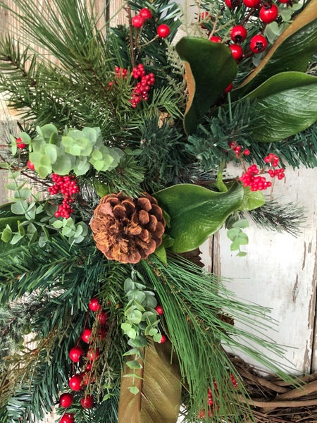 Christmas Wreath, Buffalo Plaid Christmas, Holiday Wreath, Rustic Holiday Decor - Ash & Hart Floral