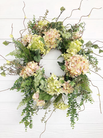 Spring Wreath, Summer Wreath, Pink and Green Hydrangea Wreath, Easter Wreath, Front Door Decor, Wreaths For Spring - Ash & Hart Floral