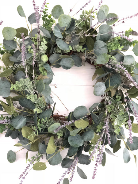 Eucalyptus and Lavender Wreath, Greenery Wreath, Everyday Wreath, Farmhouse Wreath - Ash & Hart Floral