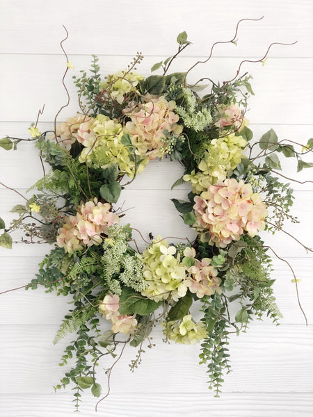 Spring Wreath, Pink and Green Hydrangea Wreath, Easter Wreath, Front Door Decor - Ash & Hart Floral