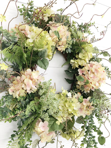 Spring Wreath, Summer Wreath, Pink and Green Hydrangea Wreath, Easter Wreath - Ash & Hart Floral