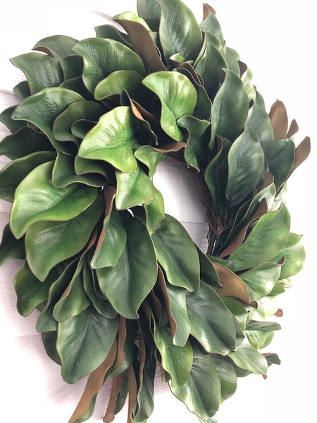 Magnolia Leaf Wreath, Magnolia Wreath, Farmhouse Front Door Wreath - Ash & Hart Floral
