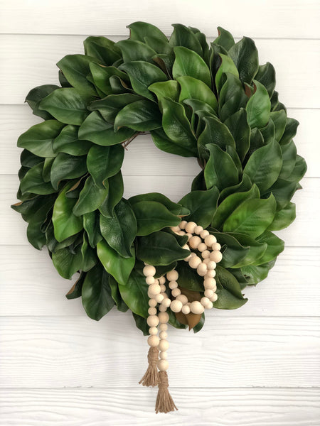 Magnolia Wreath with Natural Bead Garland, Magnolia Leaf Wreath - Ash & Hart Floral