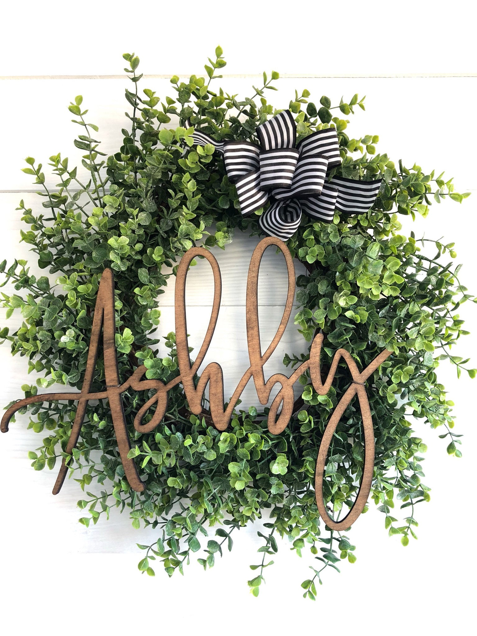 Personalized Decor, Custom Name Eucalyptus Wreath, Wedding Gift, New Home Gift - Ash & Hart Floral