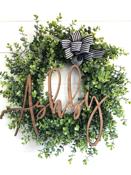 Personalized Custom Name Eucalyptus Wreath, Wedding Gift, New Home Gift - Ash & Hart Floral