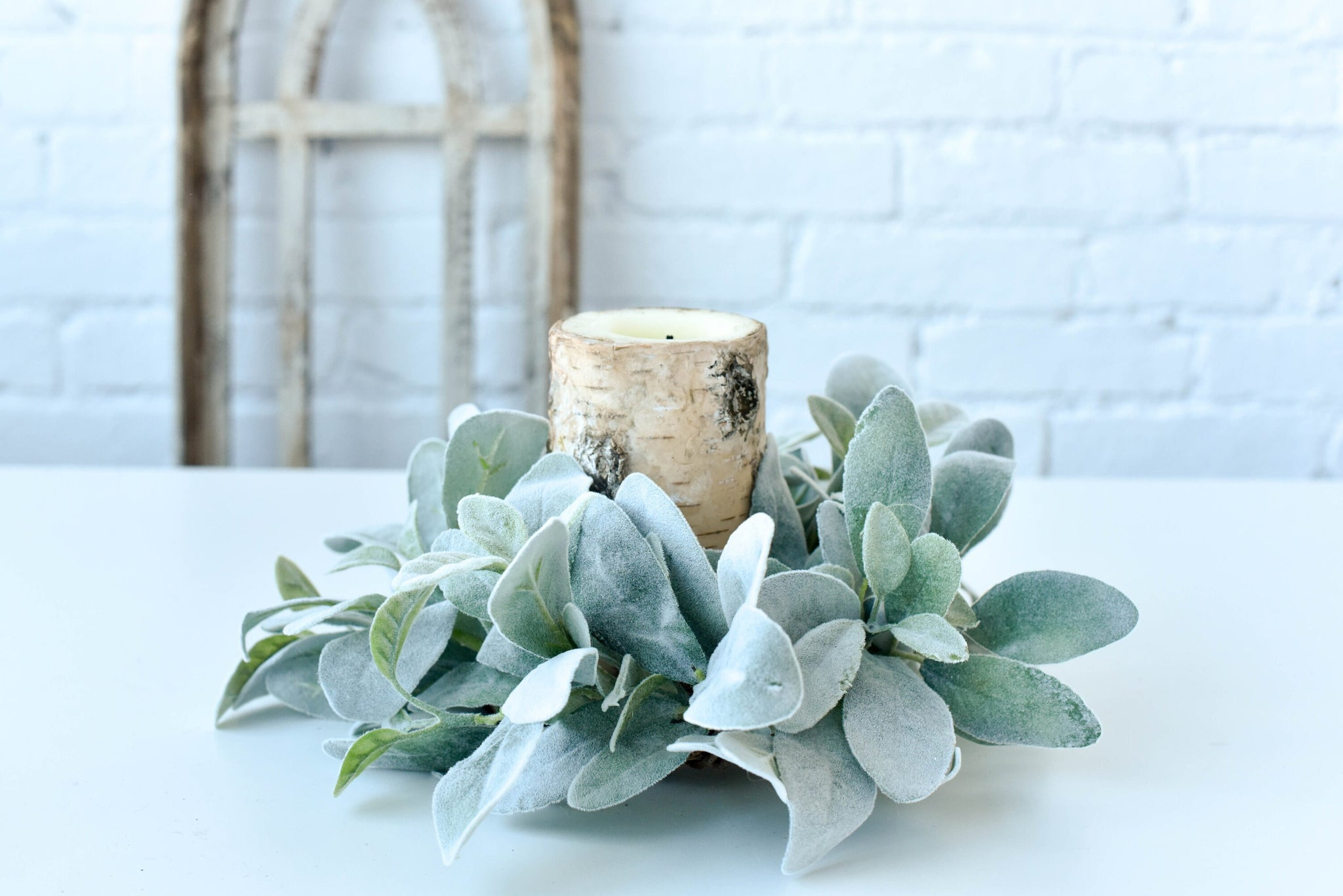 Lamb's Ear Wreath Candle Ring, Farmhouse Wreath, Farmhouse Decor - Ash & Hart Floral