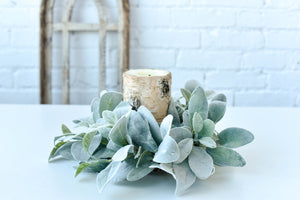 Lamb's Ear Wreath Candle Ring, Farmhouse Wreath - Ash & Hart Floral
