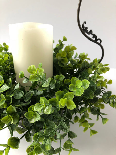 Eucalyptus Candle Ring Wreath, Greenery Candle Ring, Floral Candle Ring - Ash & Hart Floral