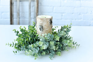 Eucalyptus Candle Ring Wreath, Farmhouse Wreath - Ash & Hart Floral