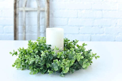 Eucalyptus Candle Ring Wreath, Greenery Candle Ring, Floral Candle Ring, Small Farmhouse Weeath - Ash & Hart Floral