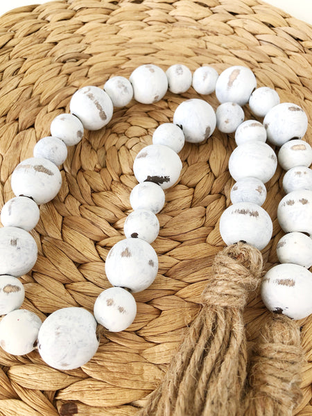 White Chippy Farmhouse Wood Bead Garland, Home Decor Beads - Ash & Hart Floral