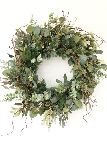 Eucalyptus Olive Winter Wreath, Holiday Wreath, Rustic Christmas Wreath - Ash & Hart Floral