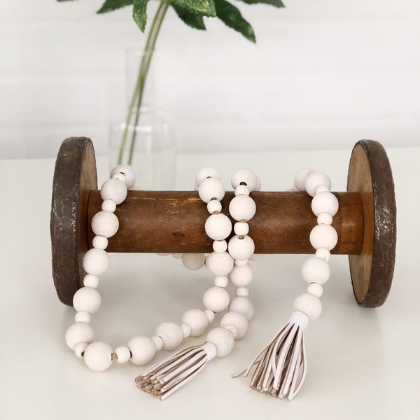 White Washed Wood Bead Garland, Farmhouse Beads, Wooden Bead Garland with Leather Tassels - Ash & Hart Floral