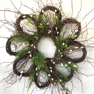 Grapevine Flower Wreath with Pussy Willow, Spring Wreath, Front Door Easter Wreath - Ash & Hart Floral