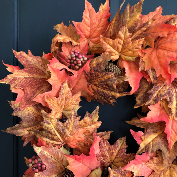 Fall Wreath, Fall Maple Leaf Wreath - Ash & Hart Floral