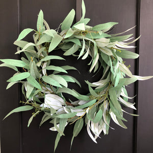Eucalyptus Wreath, Seeded Eucalyptus Needleleaf Wreath - Ash & Hart Floral