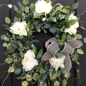 Spring Wreath for Front Door, Peony and Eucalyptus Wreath - Ash & Hart Floral