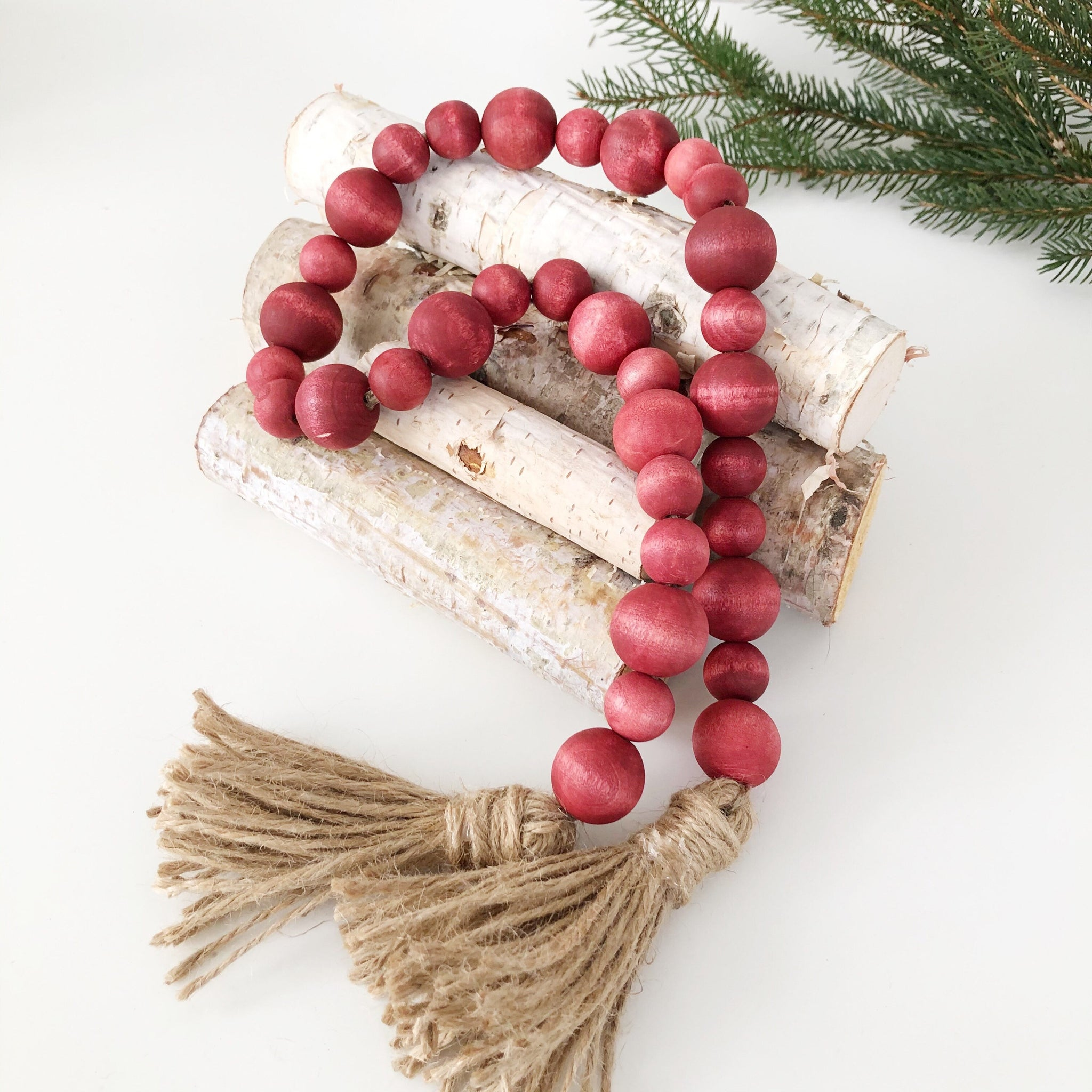 Barn Red Wood Bead Garland, Farmhouse Beads, Christmas Bead Garland - Ash & Hart Floral