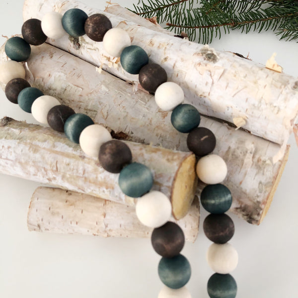 Winter Wood Bead Garland - Ash & Hart Floral