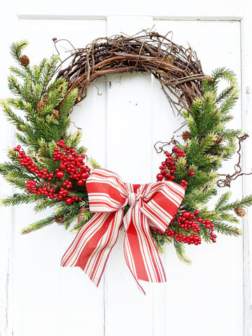 Farmhouse Christmas Wreath for Front Door, Red Berry and Pine Holiday Wreath - Ash & Hart Floral